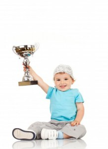 kid with a trophy